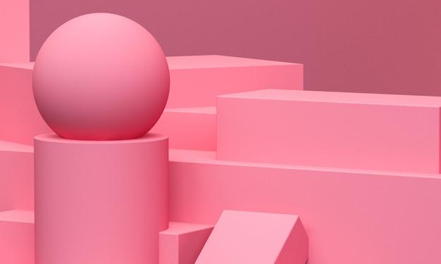 Forma geometrica primitiva rosa geometrica. il fondo astratto minimalista, 3d rende.