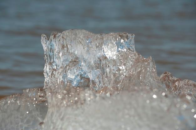 Formazione di ghiaccio a winnipeg beach, manitoba canada