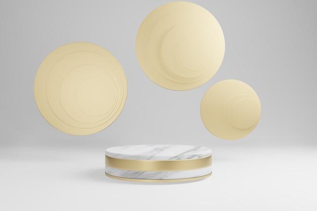 Forme cilindriche in marmo, podio, piattaforme per la presentazione del prodotto, con decorazioni in oro. rendering 3d