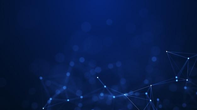 Forme geometriche del plesso astratto. concetto di connessione sfondo della rete digitale, di comunicazione e tecnologia.
