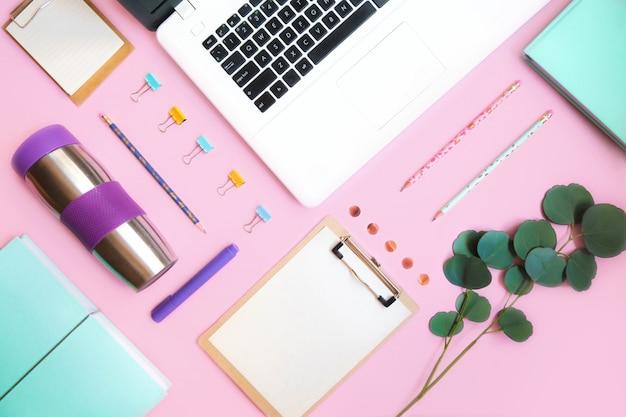 Forniture scolastiche su sfondo rosa