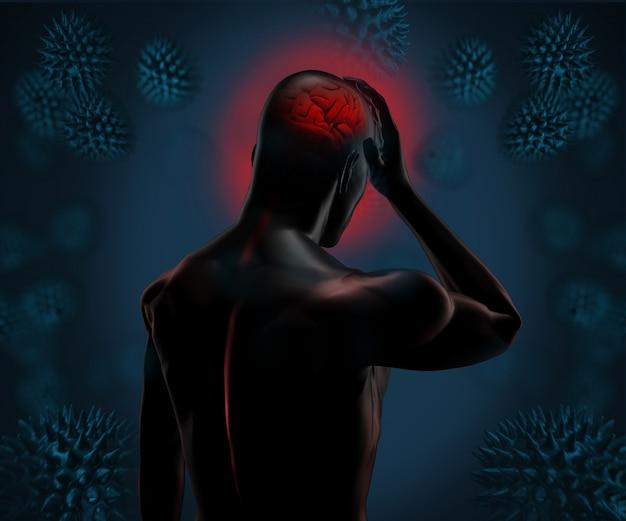 Forte figura digitale che ha mal di testa