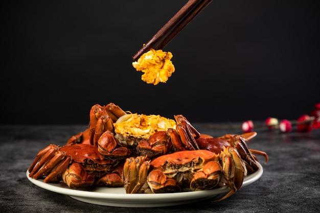 Foto avanzate di cibo cinese granchio peloso