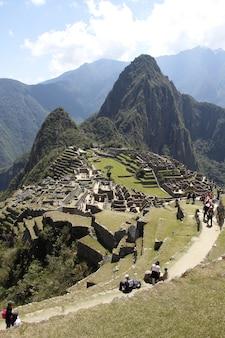 Foto dal punto di vista di machu picchu, perù