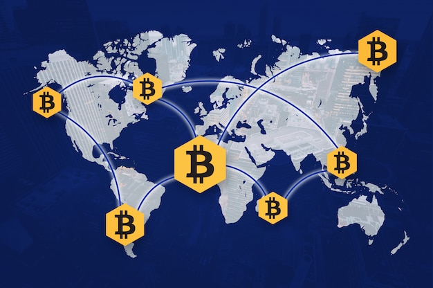 Foto di condivisione della catena a blocchi bitcoin di criptovaluta
