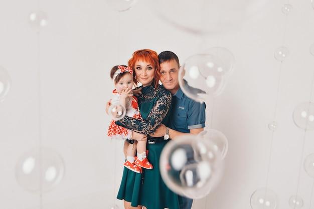 Foto di famiglia con bolle
