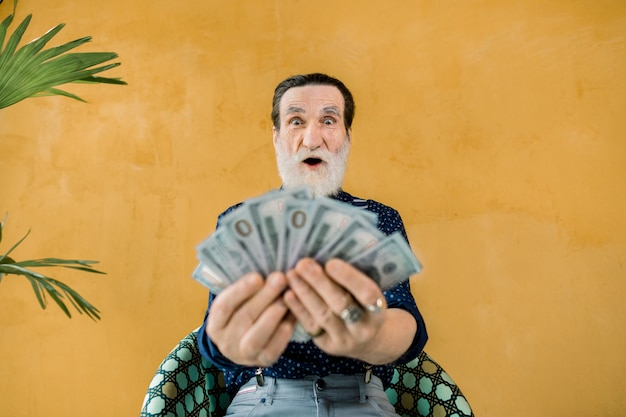 Foto divertente di allegro eccitato uomo dalla barba grigia che tiene un sacco di soldi di carta in mano