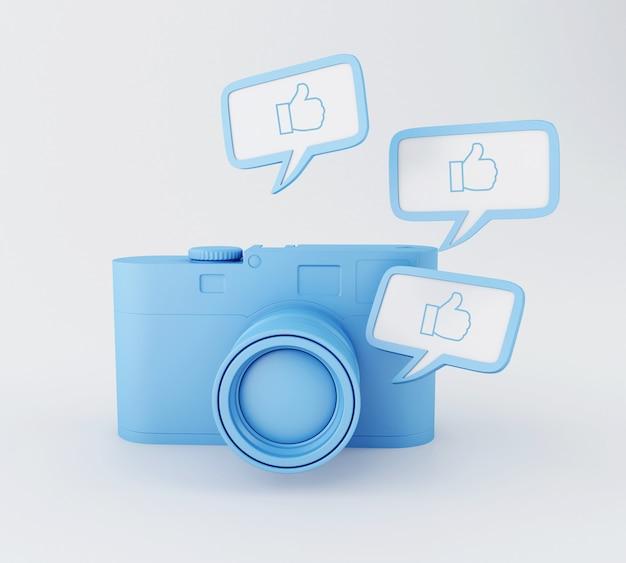 Foto fotocamera 3d con pollice in alto pin. rete sociale.