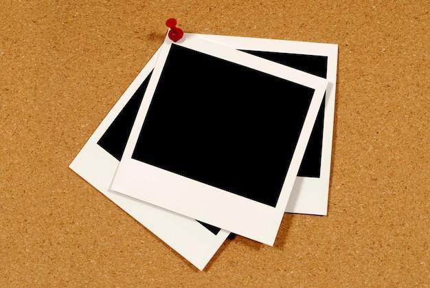 Foto istantanee su un tappo di sughero
