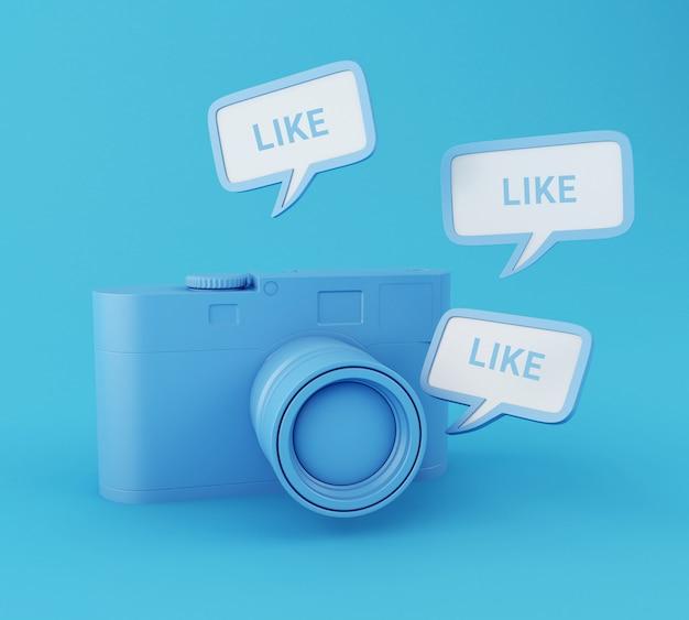 Fotocamera 3d con pin simile. rete sociale.