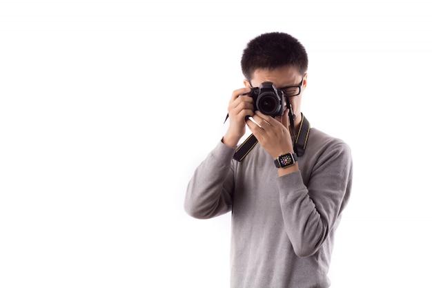 Fotocamera riprese sorriso cameraman professionista