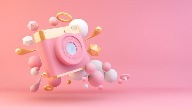Fotocamera rosa e oro