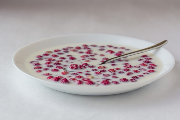 Fragole fresche con latte in una ciotola bianca.