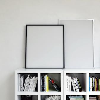 Frame mockup inteior cabinet con libri