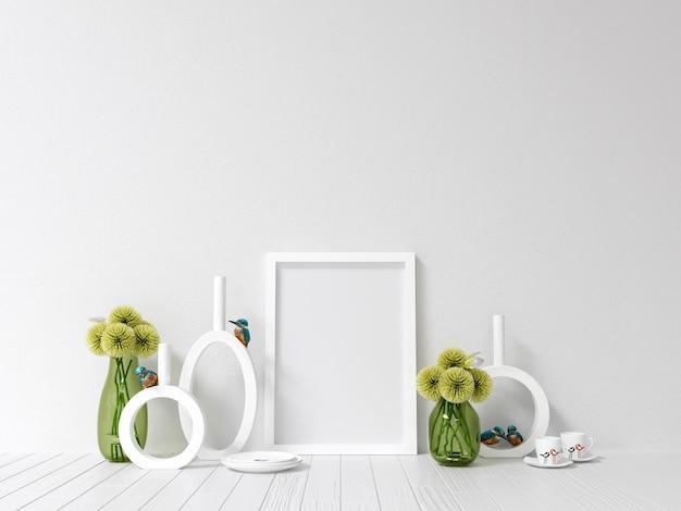 Frame mockup poster mockup con decorazione d'interni