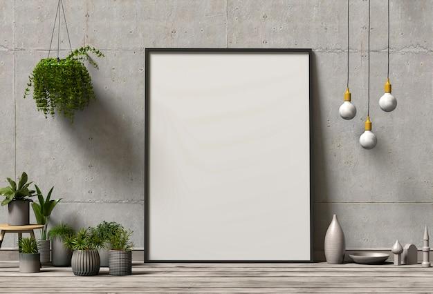 Frame poster mock up con piante verdi su sfondo muro di cemento
