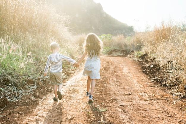 Fratello e sorella che corrono insieme in una fattoria