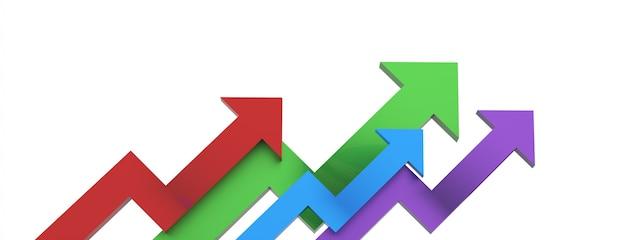Freccia colorata. concetto di business in crescita