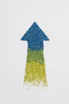 Freccia di lusso glitter gradiente rivolta verso l'alto
