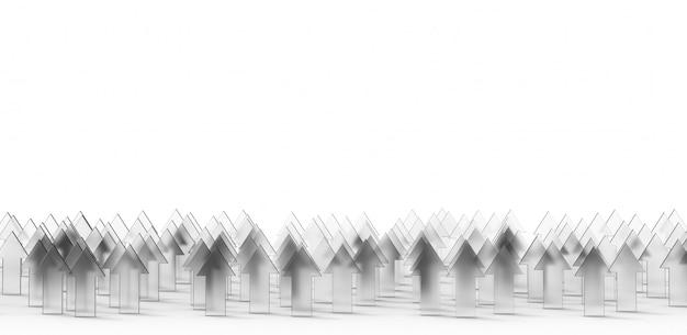 Freccia di vetro concetto crescente del fondo di affari rappresentazione 3d.