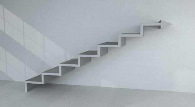 Freccia grigia delle scale che va su sulla rappresentazione del muro di cemento 3d