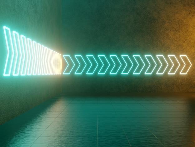 Freccia luminosa al neon, puntatore astratto sfondo verde e giallo. rendering 3d