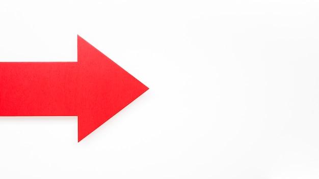 Freccia rossa con copia-spazio
