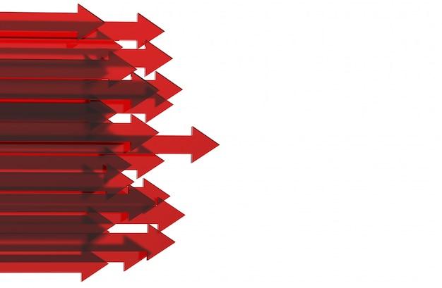 Freccia rossa. concetto crescente del fondo di affari rappresentazione 3d.