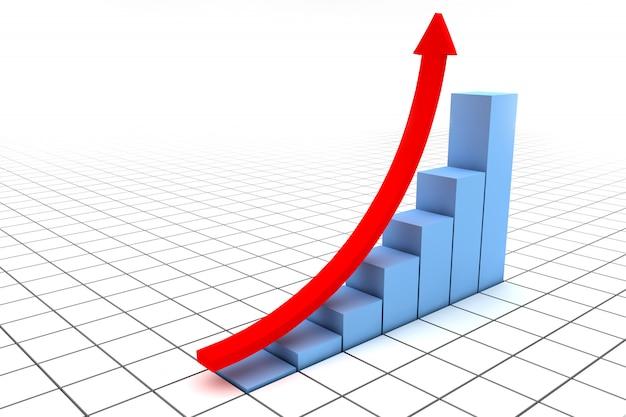 Freccia rossa su un grafico blu