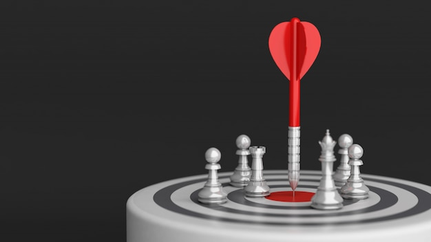 Freccia sul bersaglio centrale con scacchi, strategia aziendale, rendering 3d