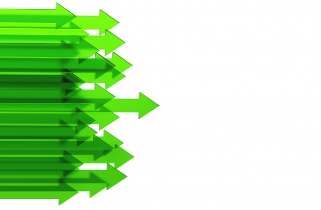 Freccia verde. concetto crescente del fondo di affari rappresentazione 3d.