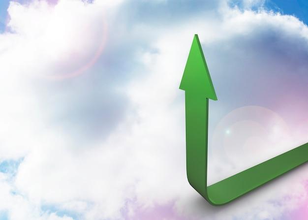 Freccia verde rivolta verso l'alto