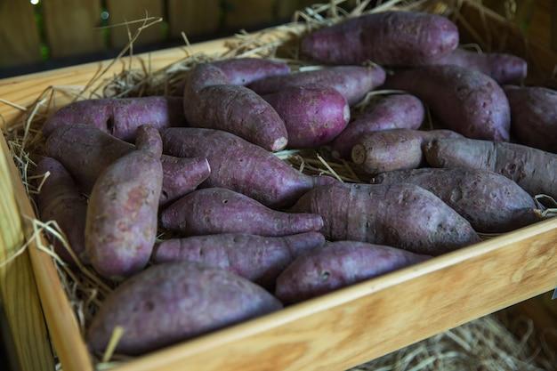 Fresco frutto sano in fattoria per la vendita in un mercato