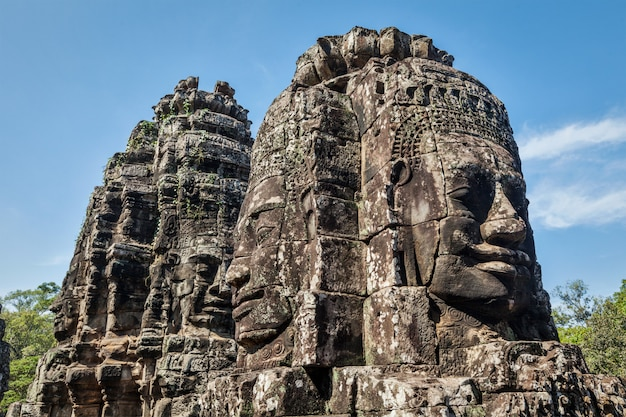 Fronti del tempio di bayon, angkor, cambogia