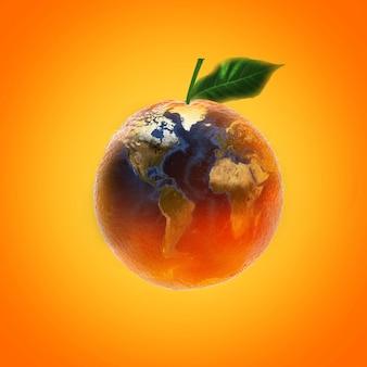 Frutta arancione matura fresca con fonte immagine mappa mondo dalla nasa