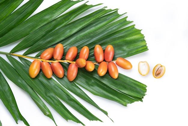 Frutta della palma da datteri isolata su fondo bianco, mazzo di frutta fresca della palma da datteri con la foglia della frutta della palma da datteri su fondo bianco