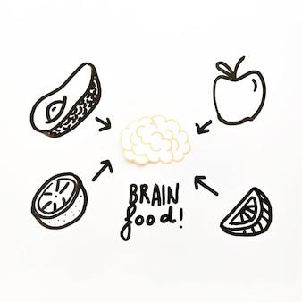 Frutta disegnata bene dal cervello su sfondo bianco