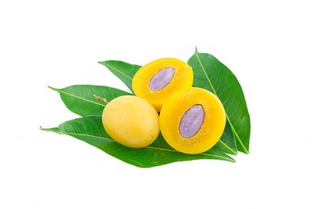 Frutta tailandese della prugna mariana dolce isolata su fondo bianco