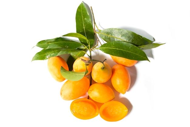 Frutta tropicale thailandese maprang, susina mariana, gandaria, mango di prugna.