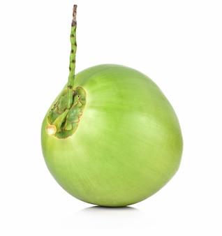 Frutta verde della noce di cocco isolata su fondo bianco