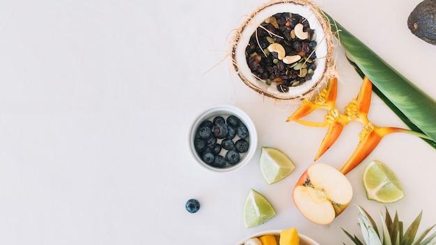 Frutti asciutti nella noce di cocco con il fiore del uccello del paradiso sul contesto bianco