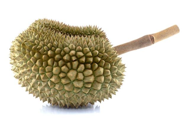 Frutti del durian isolati su bianco