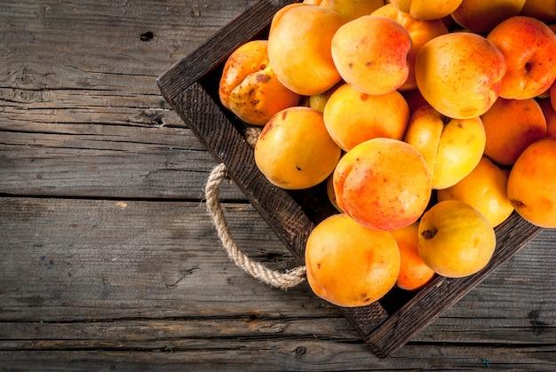 Frutti estivi albicocche organiche crude fresche dell'azienda agricola in una scatola di legno