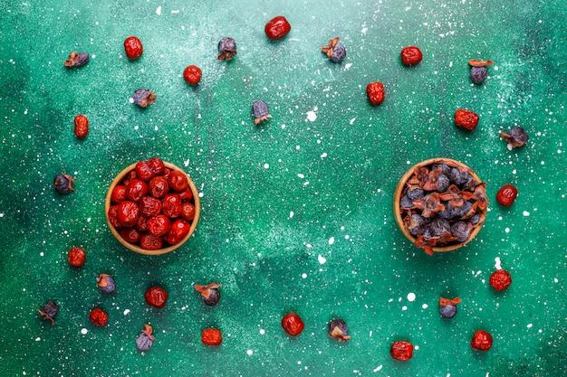 Frutti secchi assortimento sano, vista dall'alto