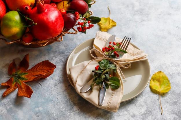 Frutto autunnale frutti di stagione autunnali del ringraziamento, vista dall'alto