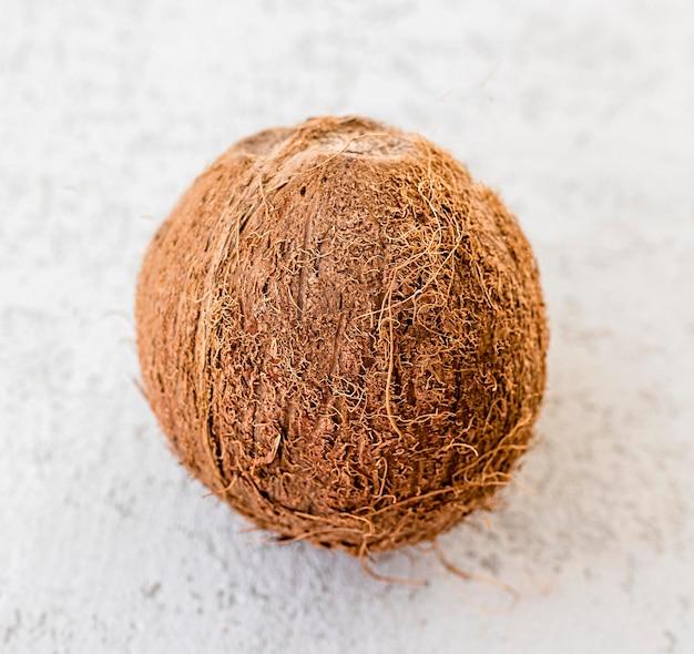 Frutto di cocco minimalista ad alta vista