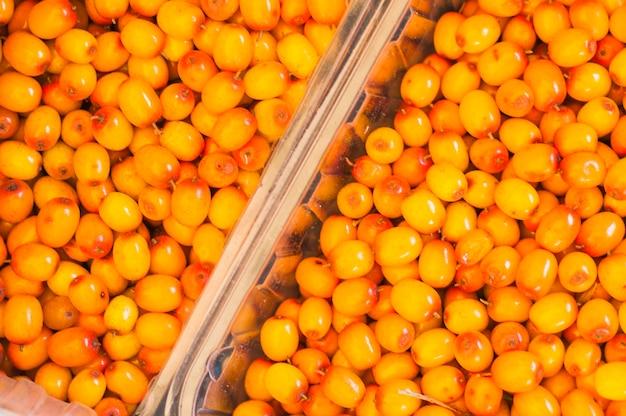 Full frame di frutti di olivello spinoso in cassa