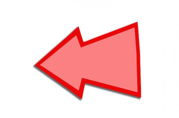 Fumetto sotto forma di una freccia rossa isolata su bianco