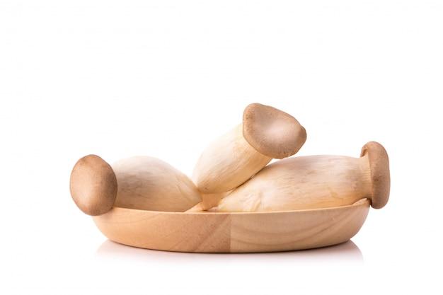 Funghi eringi su bolw in legno