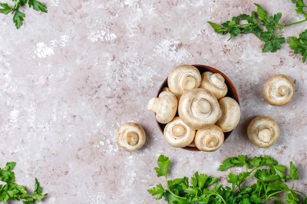 Funghi prataioli organici freschi dei funghi bianchi, vista superiore